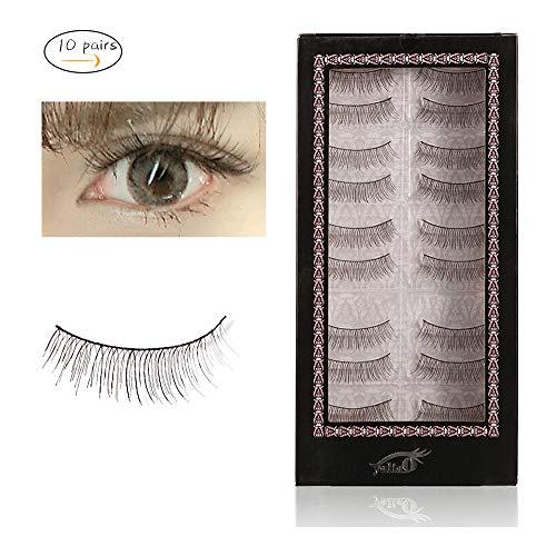 YALIAO False Eyelashes 10 Pairs Natural Long Eyelashes 0.01mm Ultra-thin Natural Fake Eyelashes Hand-made Reusable 217#
