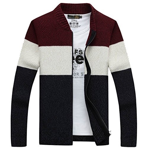 Fanhang Men's Knitted Zip Down Cardigan Sweater With Stripe (M, BURGUNDY)