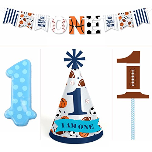 Go, Fight, Win - Sports - 1st Birthday Boy Smash Cake Kit...