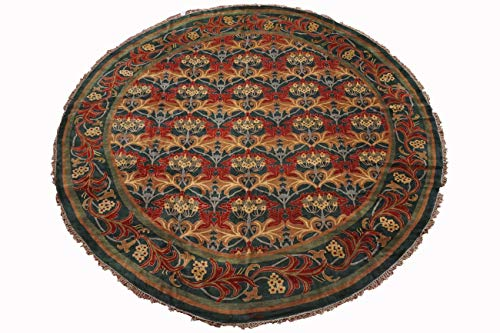 Art Morris Round William - Manhattan Oriental Rugs Hand Knotted 14X14 Round William Morris Art & Craft Design Green Signed Wool Area Rug Carpet (13.8 x 13.8)