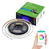 LE Smart 16.4ft 300 LED RGBW Light Strip, RGB+Daylight White Color Changing Dimmable, Waterproof, Bluetooth & Smartphone APP Remote Control Brightness Adjustable Ribbon Light for Home Party Decoration