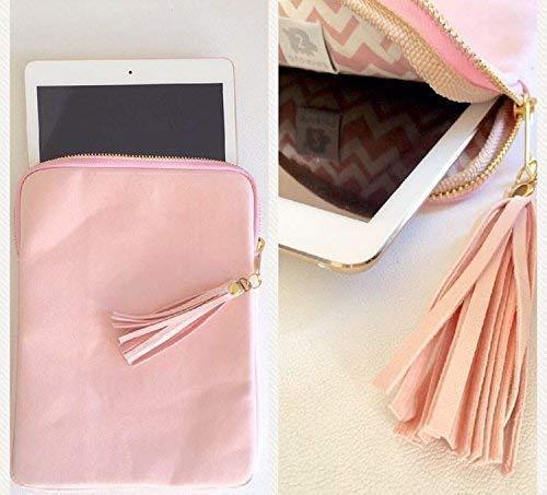 Protège tablette Housse Ipad pochette protection tablette en suédine rose paste, idée cadeau, cadeau pour elle, cadeau femme.