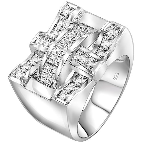 - Sterling Manufacturers Men's Elegant Sterling Silver .925 Criss Cross Ring with Fancy Cubic Zirconia (CZ) Channel and Invisible Set Stones, Platinum Plated
