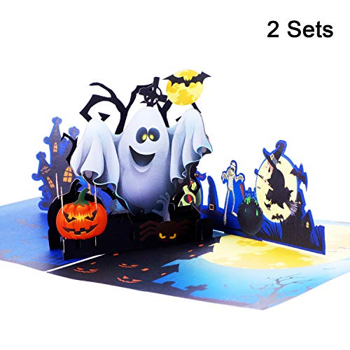 Jovitec 2 Sets 3D Halloween Pop up Greeting Card Ghost Pumpkin Pattern Handmade Card with Envelope for Halloween Themed Party, 5.9 x 5.9 Inches -