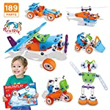 Meland STEM Toys, 189 pcs 6-in-1 Build Play Toy Set Educational Construction Engineering Building Blocks Learning Kit Boys Girls Ages 3 4 5 6 7 8 9 10 + Year Old