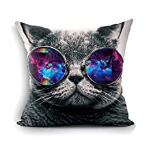 Galaxy Hipster Cat Theme Funny Cat Wear Color Sunglasses Soft Custom Rectangle Pillowcase Pillow Case Covers Standard Size 18X18 (Two Side)- Gift for Men,Women,Dad,Mom,Uncle,Sister,Friend.