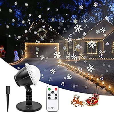 Christmas Projector Lights Outdoor LED Snowflake Projector Waterproof Snowfall Projection with Wireless Remote Snow Flurries Decorative Projector for Halloween/Christmas/Holiday/Yard Party/Wedding