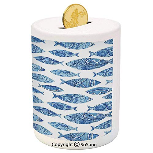 SoSung Ocean Animal Decor Ceramic Piggy Bank,Fish Figures with Ancient Ottoman Ornate Mosaic Hand Drawn Marine Artwork 3D Printed Ceramic Coin Bank Money Box for Kids & Adults,Blue