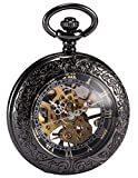 AMPM24 Steampunk Skeleton Mechanical Copper Fob Retro Pendant Pocket Watch + AMPM24 Gift Box WPK164 Bild
