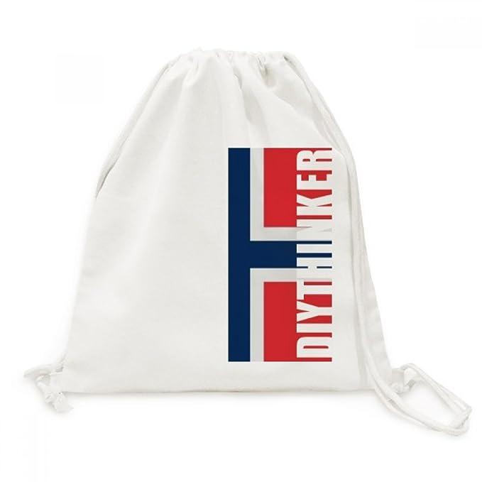 DIYthinker La Bandera Nacional De Bolsas De La Compra Europa País Lienzo Cordón Mochila De Viaje Noruega: Amazon.es: Ropa y accesorios