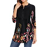 RedLife Women's Summer Fall Tunic Blouses Party Cocktail Work Tee Shirt Tops With 3/4 Sleeves (Medium, Black)