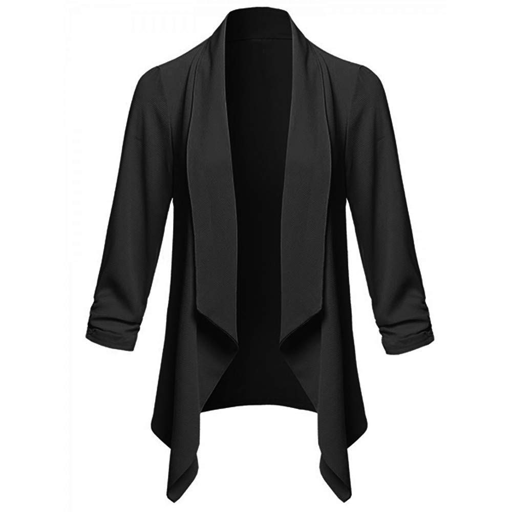 Jacket for Women, Clearance Sale! Pervobs Womens Soft Open Front Cardigan Solid Long Sleeve Blazer Coat Loose Jacket (US:10-L, Black)