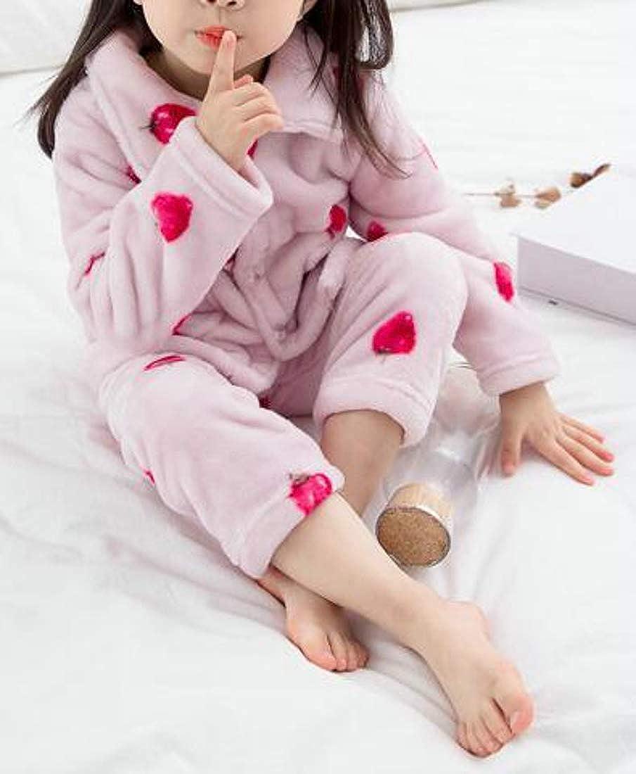 Bigbarry Girls Print Sleep Lounge Thickened Flannel Pajama Sets