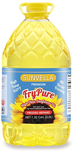 SUNVELLA FryPure Cooking Oil - Pressed-Refined Non-GMO High Oleic Sunflower Oil 1.32 GAL (5.0L)