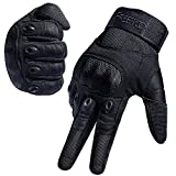 FREETOO Tactical Gloves Military Rubber Hard Knuckle Outdoor Gloves (Black Full Finger, XL)