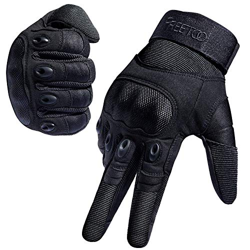 FREETOO Tactical Gloves Military Rubber Hard Knuckle Outdoor Gloves (Black Full Finger, L)