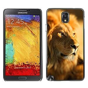 KOKO CASE / Samsung Note 3 N9000 N9002 N9005 / paquete de líder selva león áfrica sabana / Delgado Negro Plástico caso cubierta Shell Armor Funda Case Cover