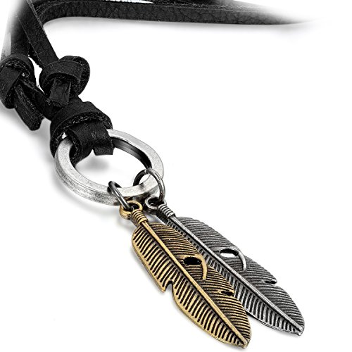 Flongo Men's Womens Vintage Alloy Angel Feather Pendant Black Leather Cord Necklace, 33 inch Chain