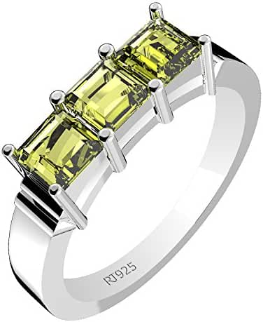 1.35ctw,Genuine Peridot 4x4mm Square & Solid .925 Sterling Silver Rings