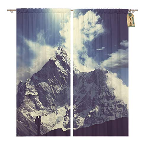 Golee Window Curtain Summit Climber in Himalayan Mountain Peak Extreme Sport Travel Home Decor Rod Pocket Drapes 2 Panels Curtain 104 x 63 inches