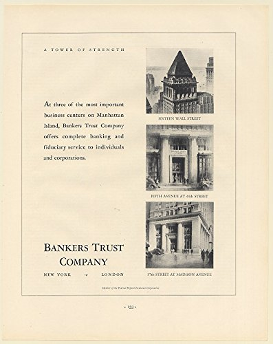 1936 Bankers Trust Company Buildings Sixteen Wall St Fifth Ave at 44th St 57th Street at Madison Ave Print Ad (Memorabilia) - 5th Ave And 57th