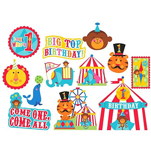Amscan Circus 1st Birthday Animals & Tent Cutouts Party Decoration, Multicolor