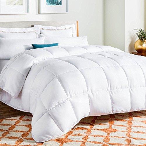 LINENSPA All-Season White Down Alternative Quilted Comforter - Corner Duvet Tabs - Hypoallergenic - Plush Microfiber Fill - Machine Washable - Duvet Insert or Stand-Alone Comforter - Full