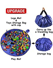 Toy Storage Mat Bag for Toy Mat Bag – Portable Toy Storage Container for Children Toys Organizer with Cap Like Travel Bag as Gift