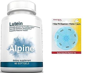 Nutrición Alpine 20mg luteína zeaxantina - 60 cuenta Softgel ojo vitaminas para la salud de la