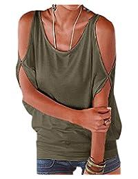 Womens Vogue Cold Shoulder Batwing T-shirt Tops Summer Loose Blouse Tunic Tanktop