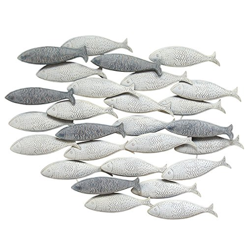 Stratton Home Decor S07742 School of Fish Wall Decor, Grey (For Online Home Sites Decor)