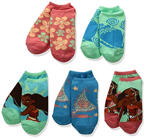 Disney Little Girls' Moana 5 Pair Pack Socks Set, Assorted Bright, 6-8.5