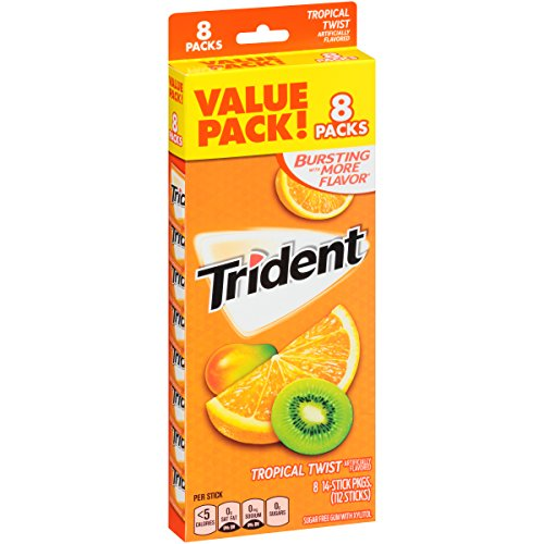 Trident Tropical Twist Sugar Free Gum - 8 Packs (112 Pieces Total)