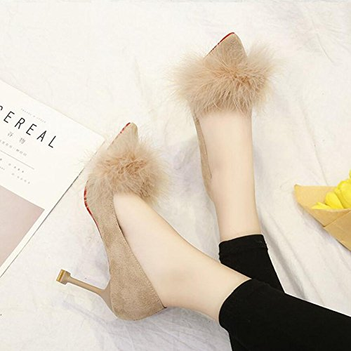 Wedding High Black Heeled Women's Plush Women's Evening Pink GAOLIXIA Beige Suede Shoes Shoes Beige Fine with Shoes Party amp; HqPE5