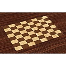 Ambesonne Checkered Place Mats Set of 4, Empty Checkerboard Wooden Seem Mosaic Texture Image Chess Game Hobby Theme, Washable Fabric Placemats for Dining Room Kitchen Table Decor, Brown Pale Brown