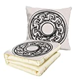 Quilt Dual-Use Pillow Celtic Royal Style Circular Celtic Pattern Graphic Print Metal Brooch Design Scottish Shield Multifunctional Air-Conditioning Quilt Silver