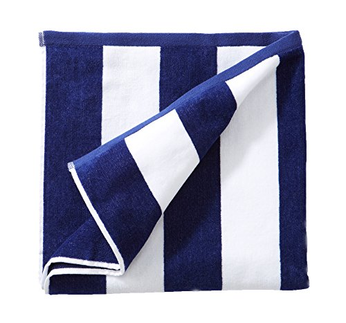 Great Bay Home 100% Cotton Plush Cabana Stripe Oversize Velour Beach Towel (40x70). By Brand. (Navy) by Great Bay Home