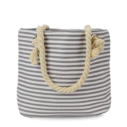 Sonia Originelli XS Shopper St. Peter-Ording Einkaufstasche Tasche Farbe Grau-Schwarz