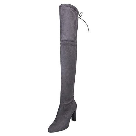 Logobeing Zapatos Mujer Tacones Botines Mujer Tacon Botas Altas Elásticas Falsas Delgadas Rodilla Botas de Mujer