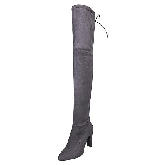 YiYLunneo Botas De Nieve Negras Botines Las Mujeres Estiran Altas Delgadas  Sobre Rodilla Zapatos Tacones Altos  Amazon.es  Ropa y accesorios 0fe263e64478b