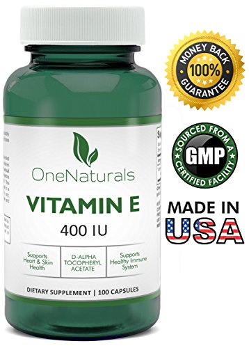 400 Iu 100 Softgel Capsules - OneNaturals Vitamin E 400 IU (d-Alpha tocopheryl acetate) Supplement - 100 Softgels, 1333% Daily Value