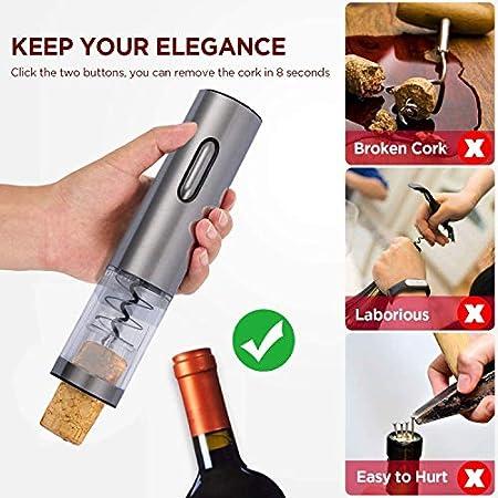 Flybiz Sacacorchos eléctrico, Profesional Automatico Abrelatas de Vino, Abridor Botellas de Vino Inalámbrico con Cortador de Papel, Vertedor, Tapón de Vino de Vacío, Recargable, El Regalo Ideal