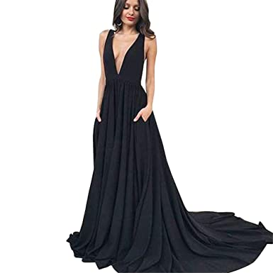 Long Chiffon Bridesmaid Dresses Deep V Neck Sleeveless Formal Evening Party  Gowns Black 613229a40e0