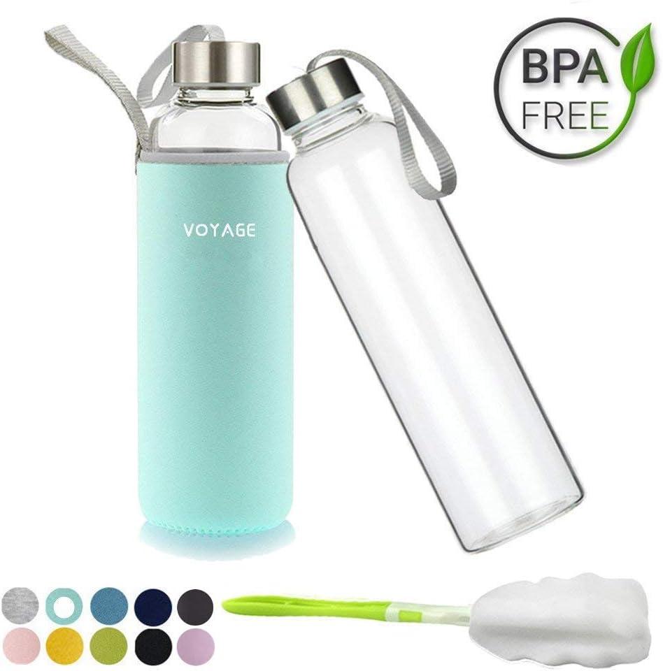 Voarge Botella de Agua Cristal 550ml, Botella de Agua Reutilizable 18 oz, Sin BPA Antideslizante Protección Neopreno Llevar Manga y Cepillo de Esponja, Verde de Menta