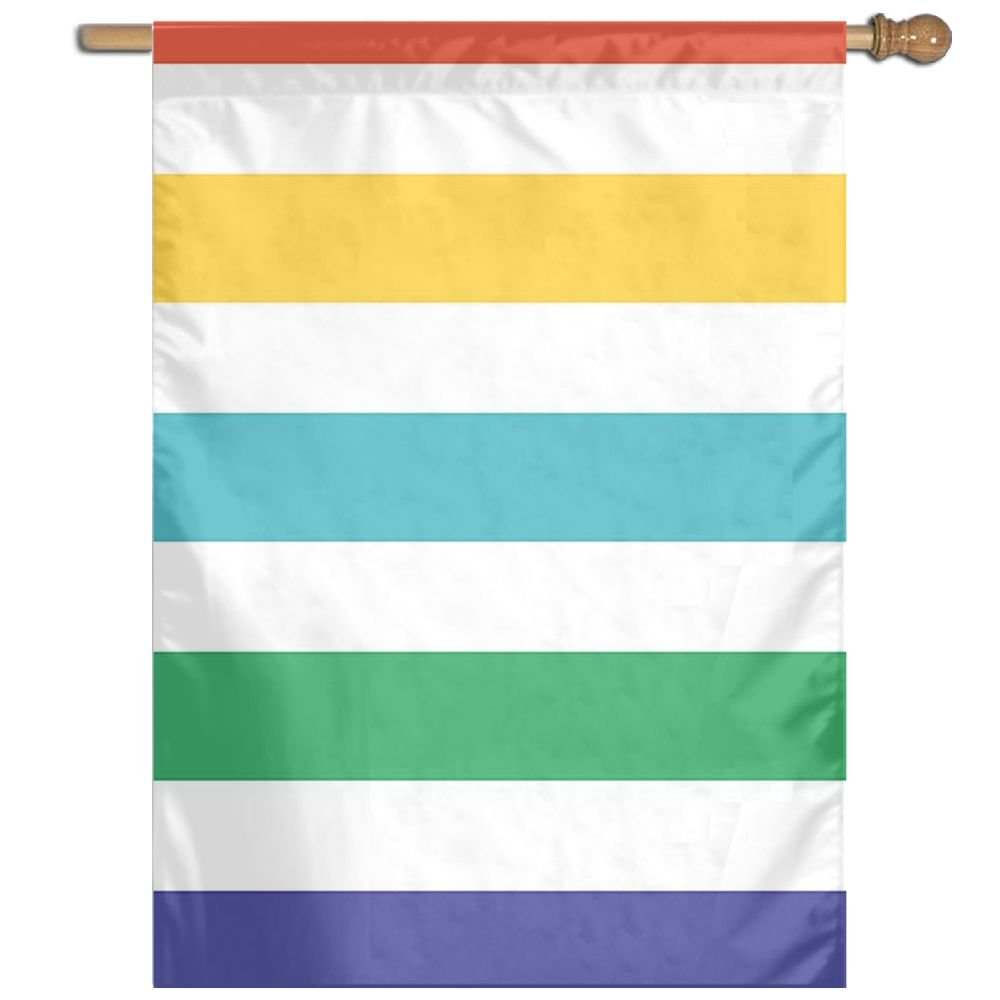 HUANGLING Rainbow Colored And White Fun Horizontal Lines Kids Room Red Yellow Blue Green Pattern Home Flag Garden Flag Demonstrations Flag Family Party Flag Match Flag 27''x37''