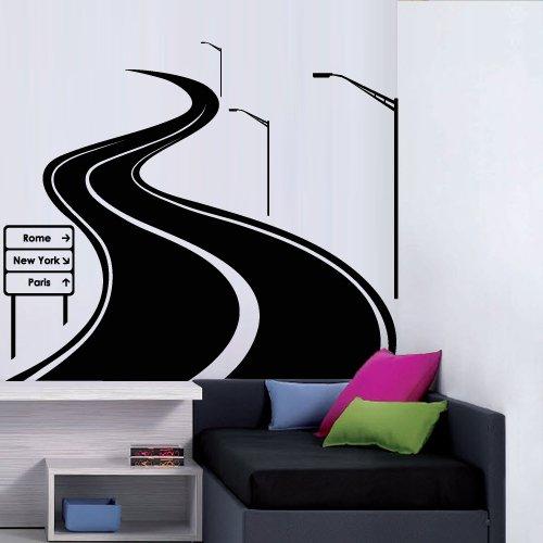 Tracks Vinyl Decal - Large Wall Decal Vinyl Sticker Decals Art Decor Design Road Track Car Band Traffic Sign Nursery Kids Gift (M1425)