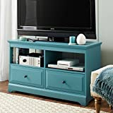 Better Homes and Gardens Savannah 2 Drawer Media Console, Teal, Dimensions: 42''W x 15.75''D x 24.3''H