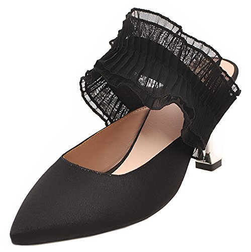 Chaussure Dentelle Noir Femme Easemax Pointue Spécial Kitten Mules Heel WcvxxwnB