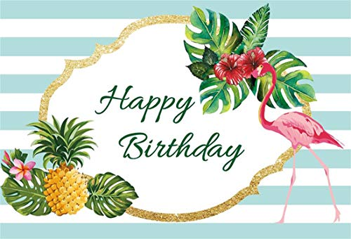 Yeele 7x5ft Vinyl Happy Birthday Background Tropical Palm