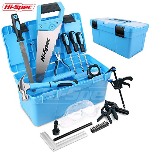 Hi-Spec 28 pc Children's Tool Set and Storage Box with Real Hand Tools, Accessories and Eye Protection for Home DIY, Decorating and Woodworking in Convenient Storage Box(Blue)- Great Kid's Gift Idea